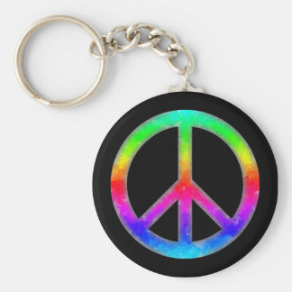 Psychedelic Tie-Dye Peace Sign Keychain (Black)