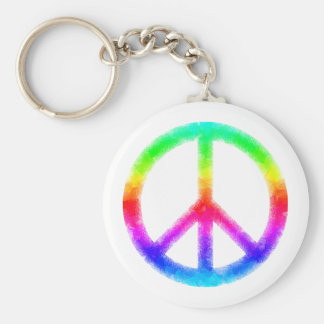 Psychedelic Tie-Dye Peace Sign Keychain (White)
