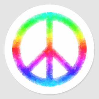 Psychedelic Tie-Dye Peace Sign Stickers (White)