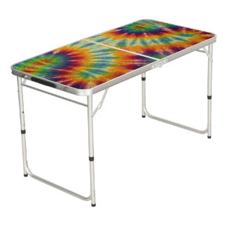 Psychedelic Tiedye Beer Pong Tailgate Table Pong Table