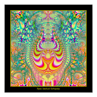 Psychedelic Topsy Turvy Thoughts Fractal Poster