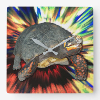 Psychedelic Tortoise Square Wall Clock