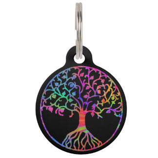 Psychedelic Tree of Life Pet Nametags