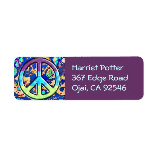 Psychedelic Trippy Purple Peace Sign Return Address Label