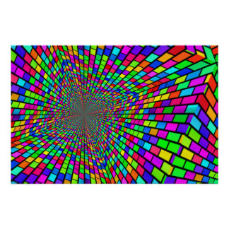 Psychedelic Tunnel of Blocks Poster