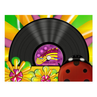 Psychedelic Vinyl Record Personalized Postcards