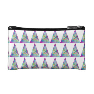 Psychedelic Water-color Triangle Illustration Makeup Bags