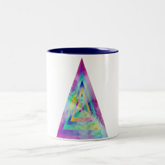 Psychedelic Water-color Triangle Illustration Mugs