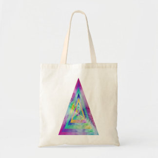 Psychedelic Water-color Triangle Illustration Tote Canvas Bag