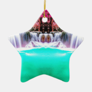 Psychedelic Waterfall Ceramic Ornament