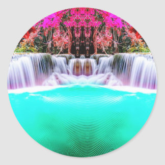 Psychedelic Waterfall Classic Round Sticker