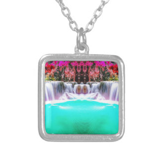 Psychedelic Waterfall Silver Plated Necklace