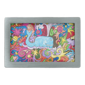 Psychedelic Whale Rectangular Belt Buckle