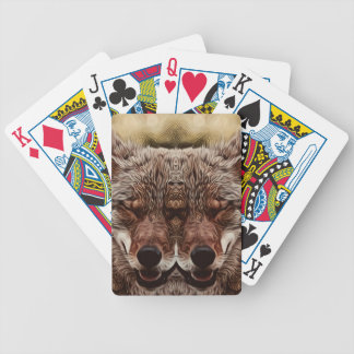 Psychedelic Wolf Bicycle Playing Cards