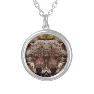 Psychedelic Wolf Silver Plated Necklace