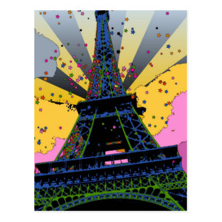 Psychedelic World Eiffel Tower Paris France A1 Post Card