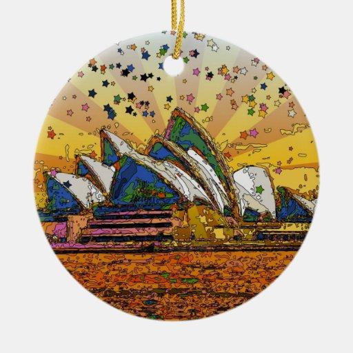 Psychedelic World: Sydney Skyline A1 Christmas Tree Ornament