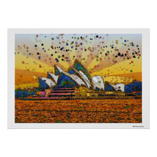Psychedelic World: Sydney Skyline A1 Posters