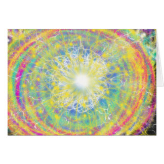 Psychedelic Yellow Star Abstract Art Design Card