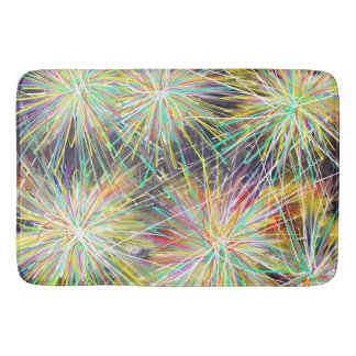 Psychedelic Yellow Stars Indie Abstract Art Design Bath Mat