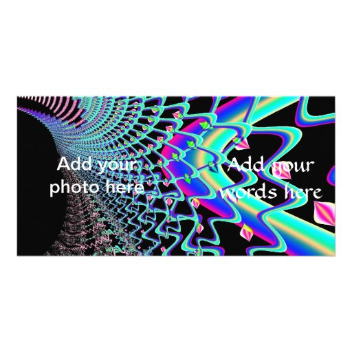 Psychedelic Zig Zag Spider Web Fractal Photo Greeting Card