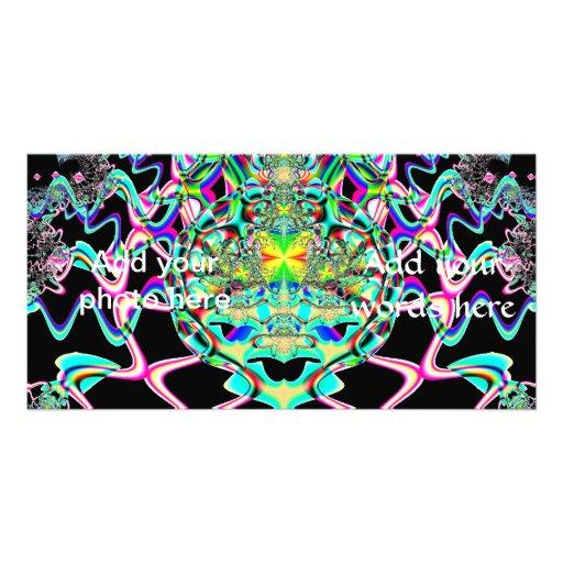 Psychedelic Zig Zagged Legged Bug Fractal Customized Photo Card