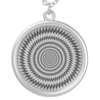 Psychedelic Zigzag Rings Round Pendant Necklace
