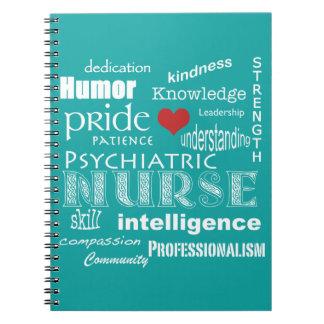 Psychiatric Nurse-Attributes/Aqua Blue Notebooks