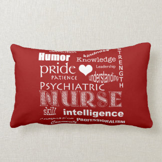 Psychiatric Nurse Pride-Attributes/Deep Red Lumbar Cushion