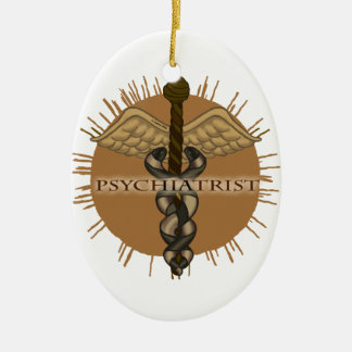 Psychiatrist Caduceus Oval Ceramic Ornament