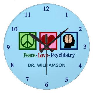 Psychiatrist Peace Love Psychiatry Large Clock
