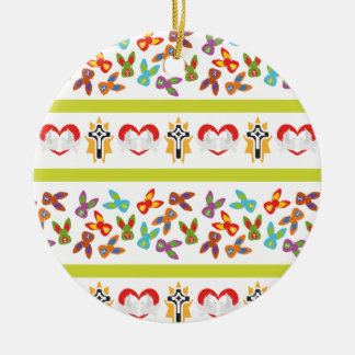 Psycho Easter Pattern colorful Ceramic Ornament