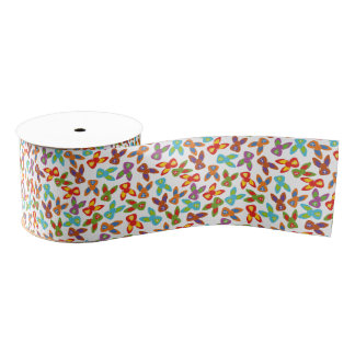 Psycho Easter Pattern colorful Grosgrain Ribbon