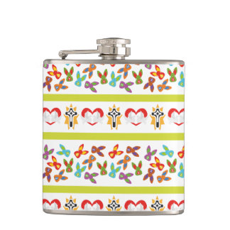 Psycho Easter Pattern colorful Hip Flask