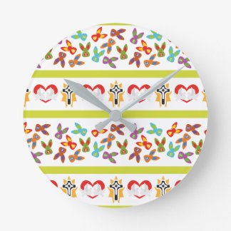 Psycho Easter Pattern colorful Round Clock