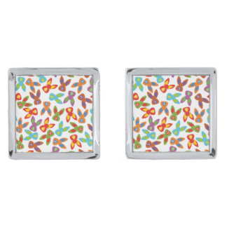 Psycho Easter Pattern colorful Silver Finish Cuff Links