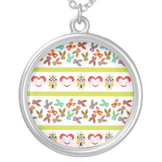 Psycho Easter Pattern colorful Silver Plated Necklace