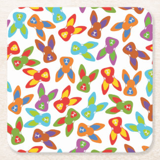 Psycho Easter Pattern colorful Square Paper Coaster