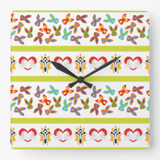 Psycho Easter Pattern colorful Square Wall Clock