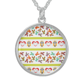 Psycho Easter Pattern colorful Sterling Silver Necklace