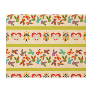Psycho Easter Pattern colorful Wood Print