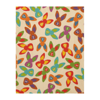 Psycho Easter Pattern colorful Wood Wall Art
