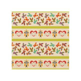 Psycho Easter Pattern colorful Wood Wall Decor