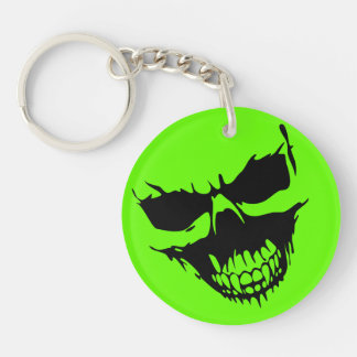 Psycho Horror Skull Double-Sided Round Acrylic Key Ring