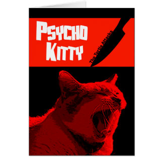 Psycho Kitty Happy Halloween Card