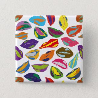 Psycho retro colorful pattern Lips 15 Cm Square Badge