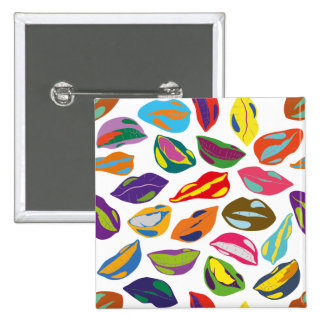 Psycho retro colorful pattern Lips 15 Cm Square Badge