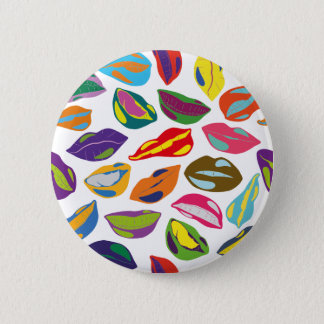 Psycho retro colorful pattern Lips 6 Cm Round Badge