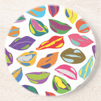 Psycho retro colorful pattern Lips Beverage Coasters