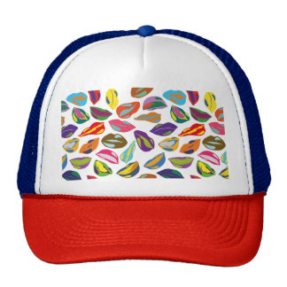 Psycho retro colorful pattern Lips Cap